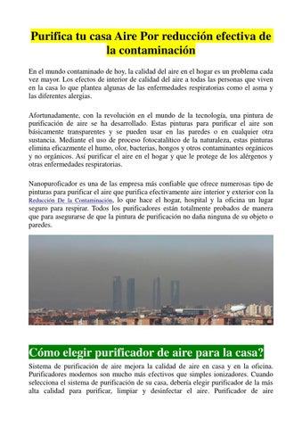 Purificador de aire fotocatal tico by nanopurificador issuu for Como purificar el aire contaminado