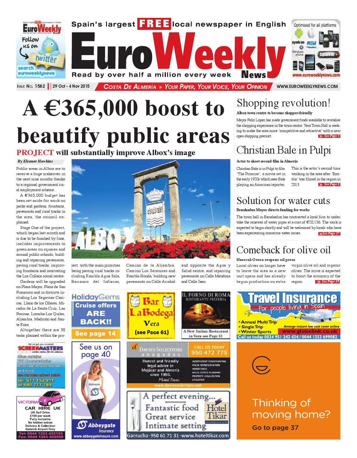 Euro Weekly News Costa De Almeria 29 October 4 November 2015  # Rogelio Muebles San Rafael