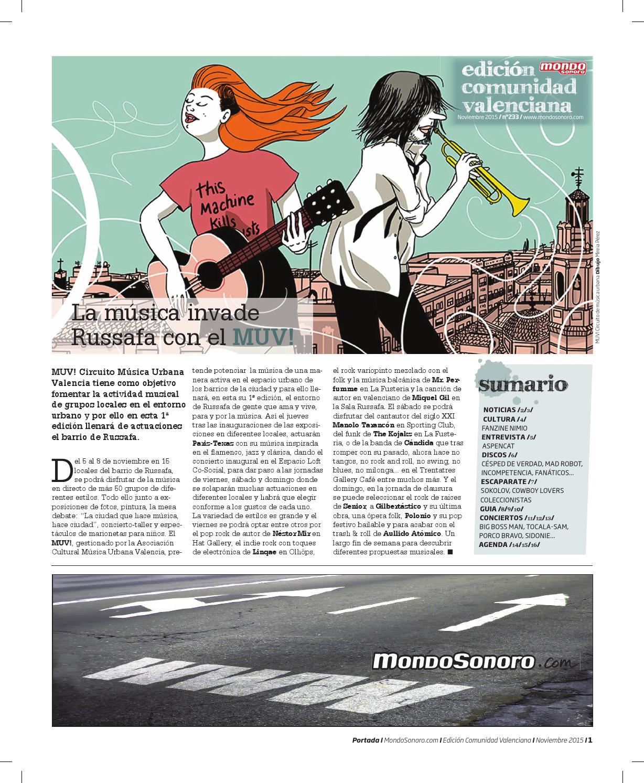 MONDO SONORO COMUNIDAD VALENCIANA 233 NOVIEMBRE 2015 by Mondo ...