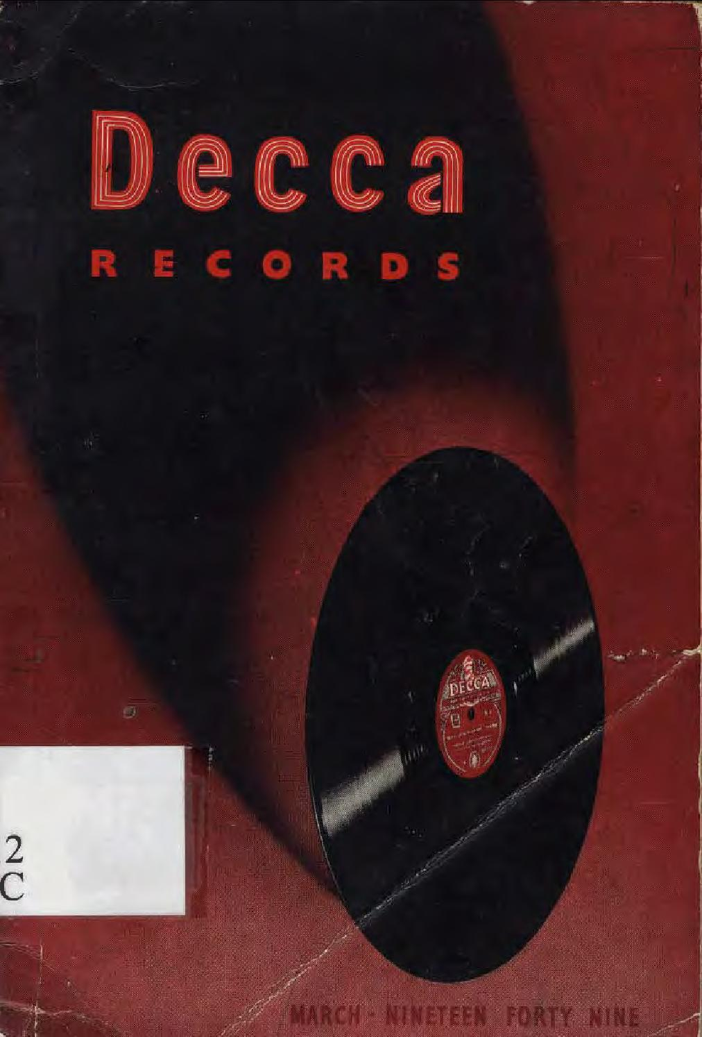 Decca records general catalogue 1949 (London GB) by 78rpm