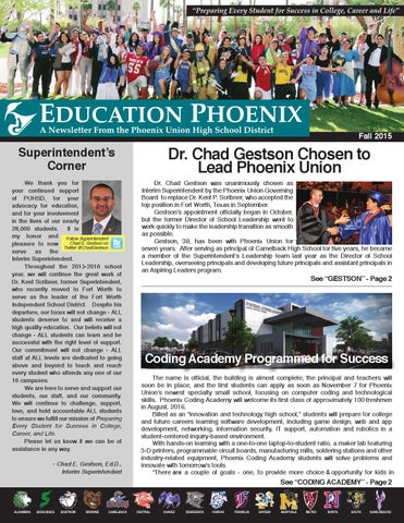 Phoenix union high school district fall 2015 newsletter by phoenix page 1 malvernweather Images