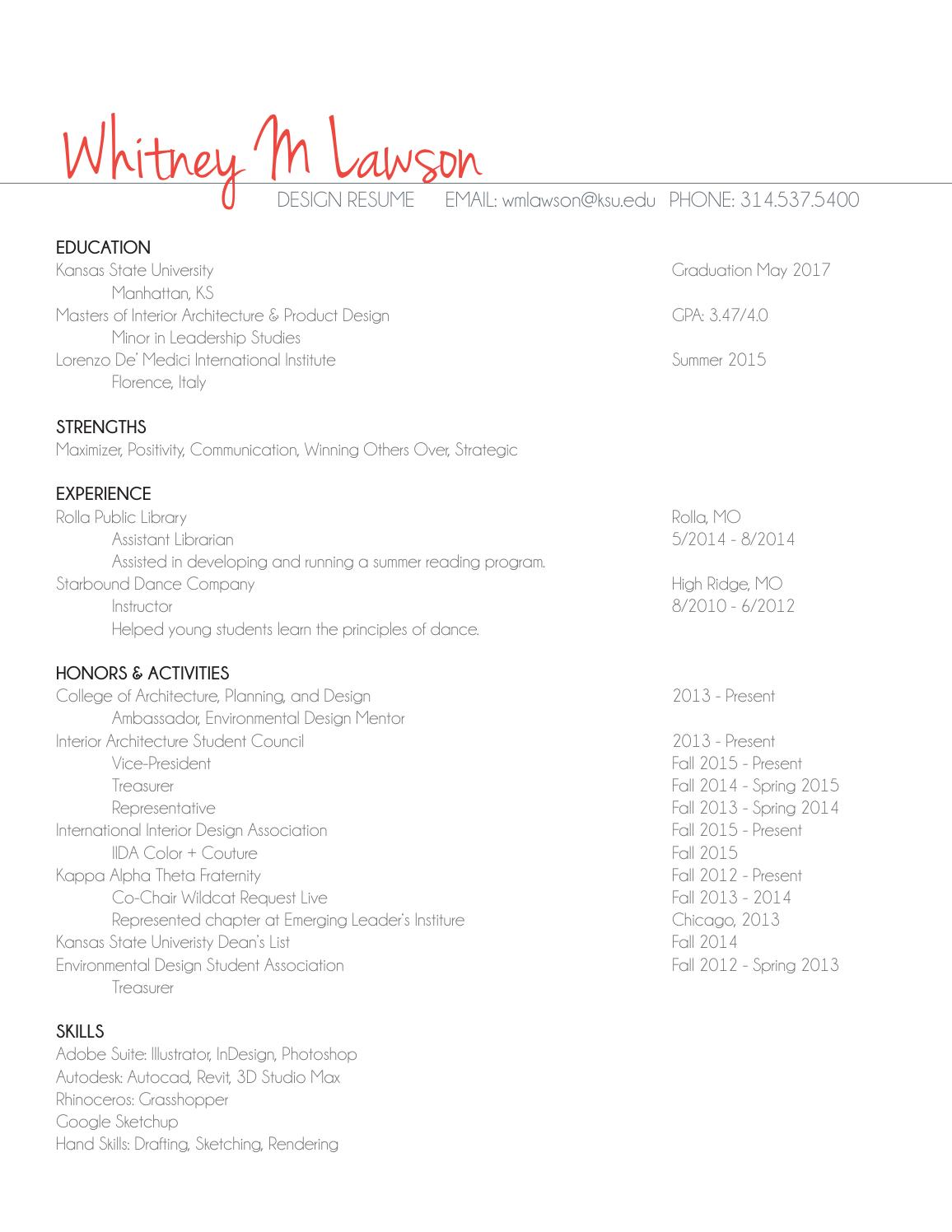 Interior Architecture Product Design Resume By Whitney Marie Lawson