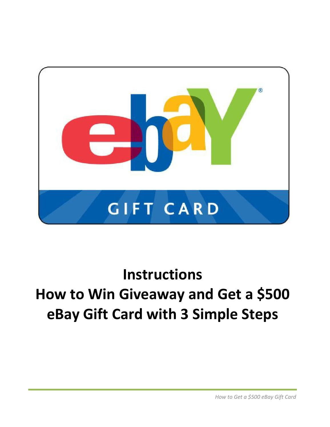 Get A 500 Ebay Gift Card With 3 Simple Steps By Mike Gordon Issuu