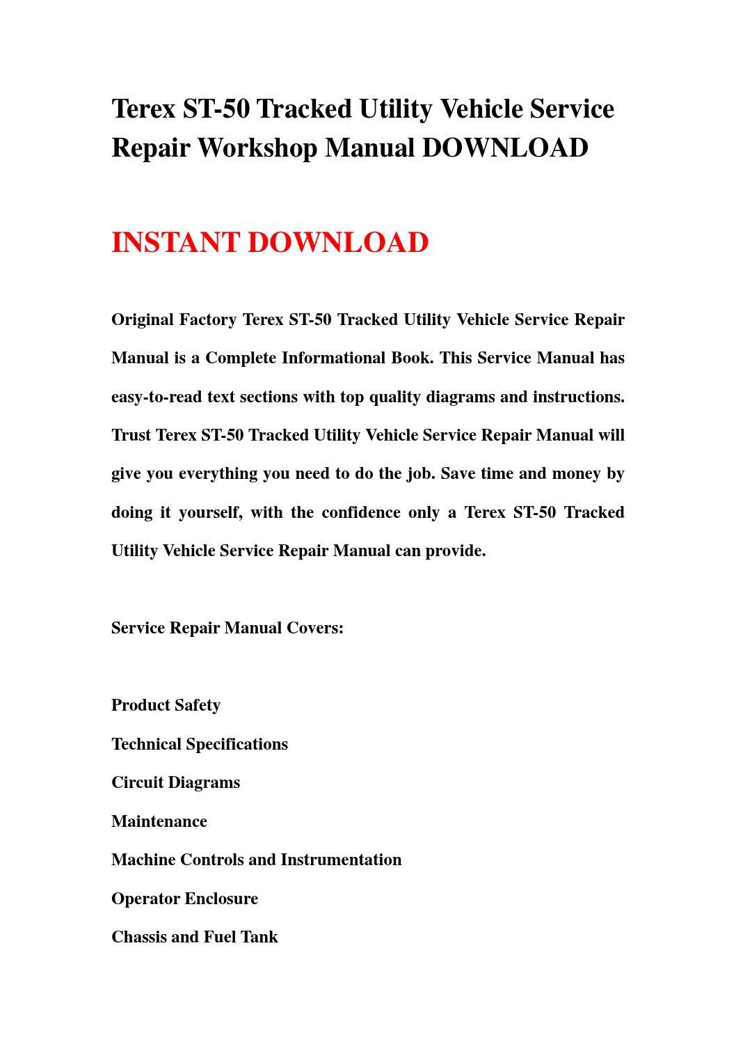 Terex St 50 Tracked Utility Vehicle Service Repair Workshop Manual Download By Kkjgdr7uud