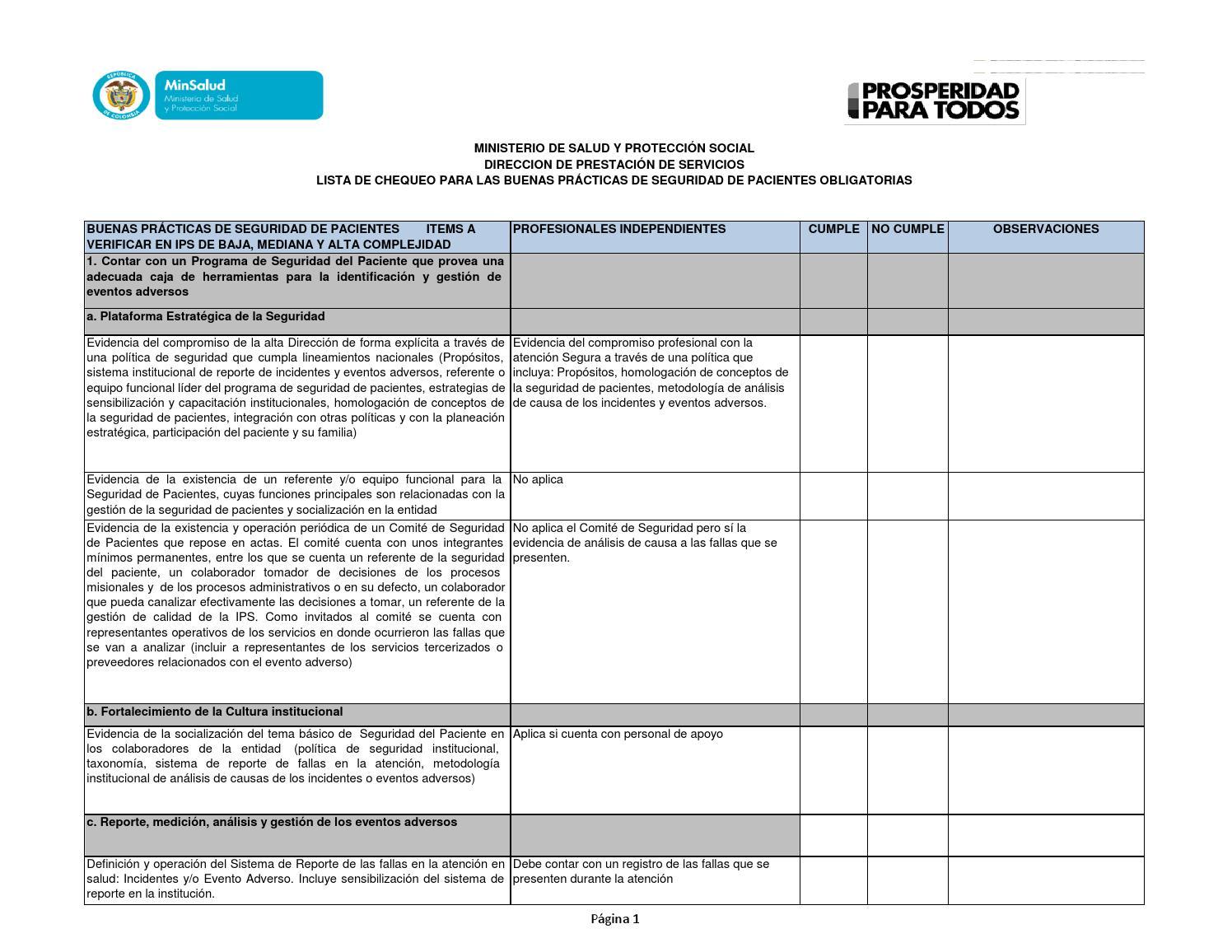 Lista de chequeo para las buenas prácticas de seguridad de pacientes ...