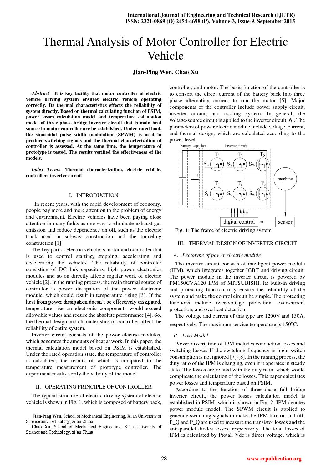 Thermal analysis of motor controller for electric vehicle for Electric motor heat load calculation
