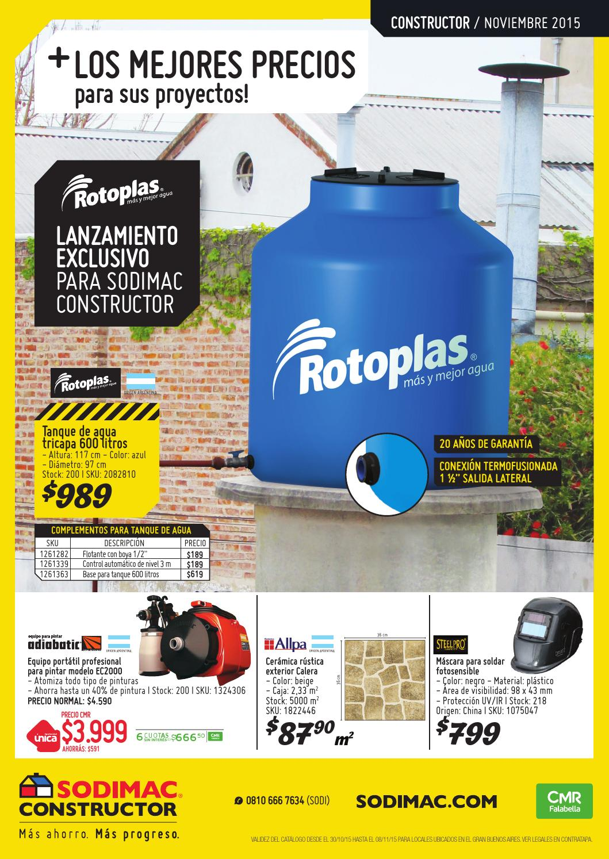 Catalogo sodimac constructor noviembre 2015 by sodimac for Tanques de agua medidas