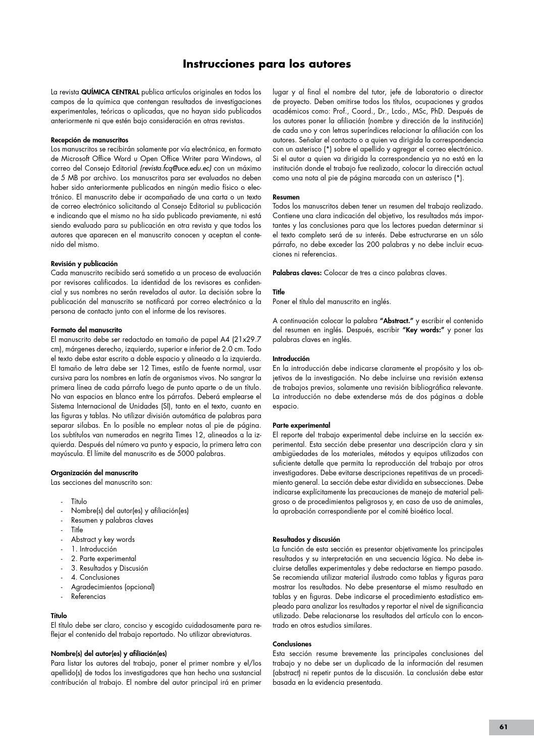 02_REVISTA_QUIMICA_CENTRAL_N°-2 by FACULTAD DE CIENCIAS QUIMICAS - issuu