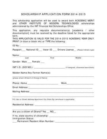 Scholarship Application Form By Imt Ghana - Issuu