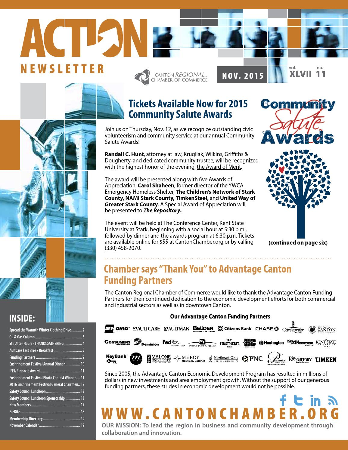 ACTION Newsletter, Nov  2015 by Canton Regional Chamber of