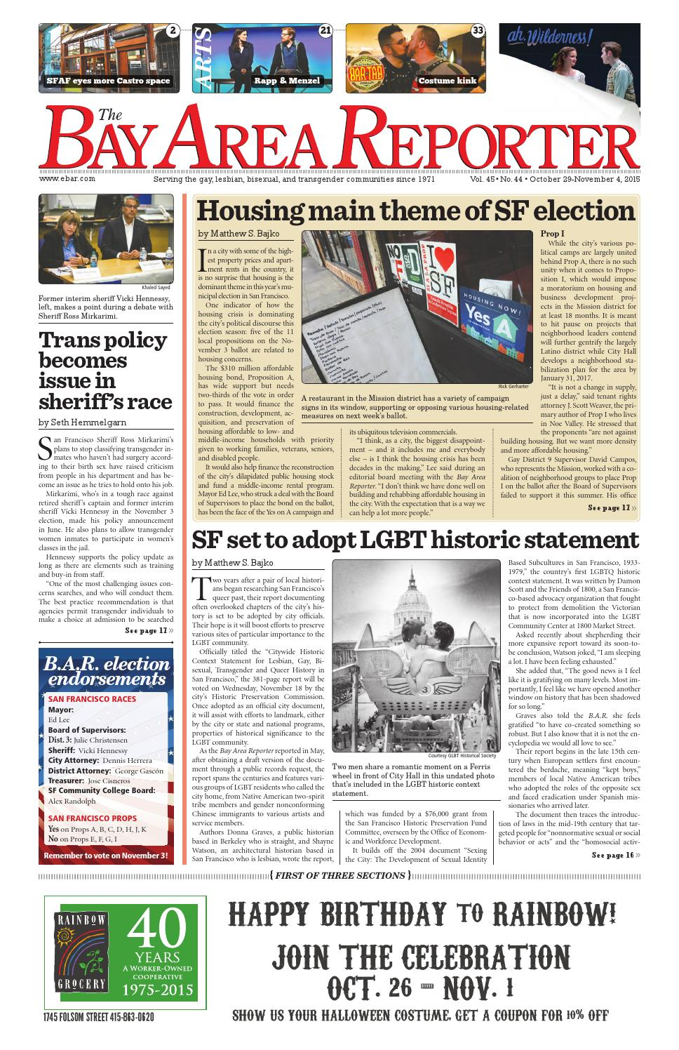 Bay Area Reporter : October edition of the bay area reporter by