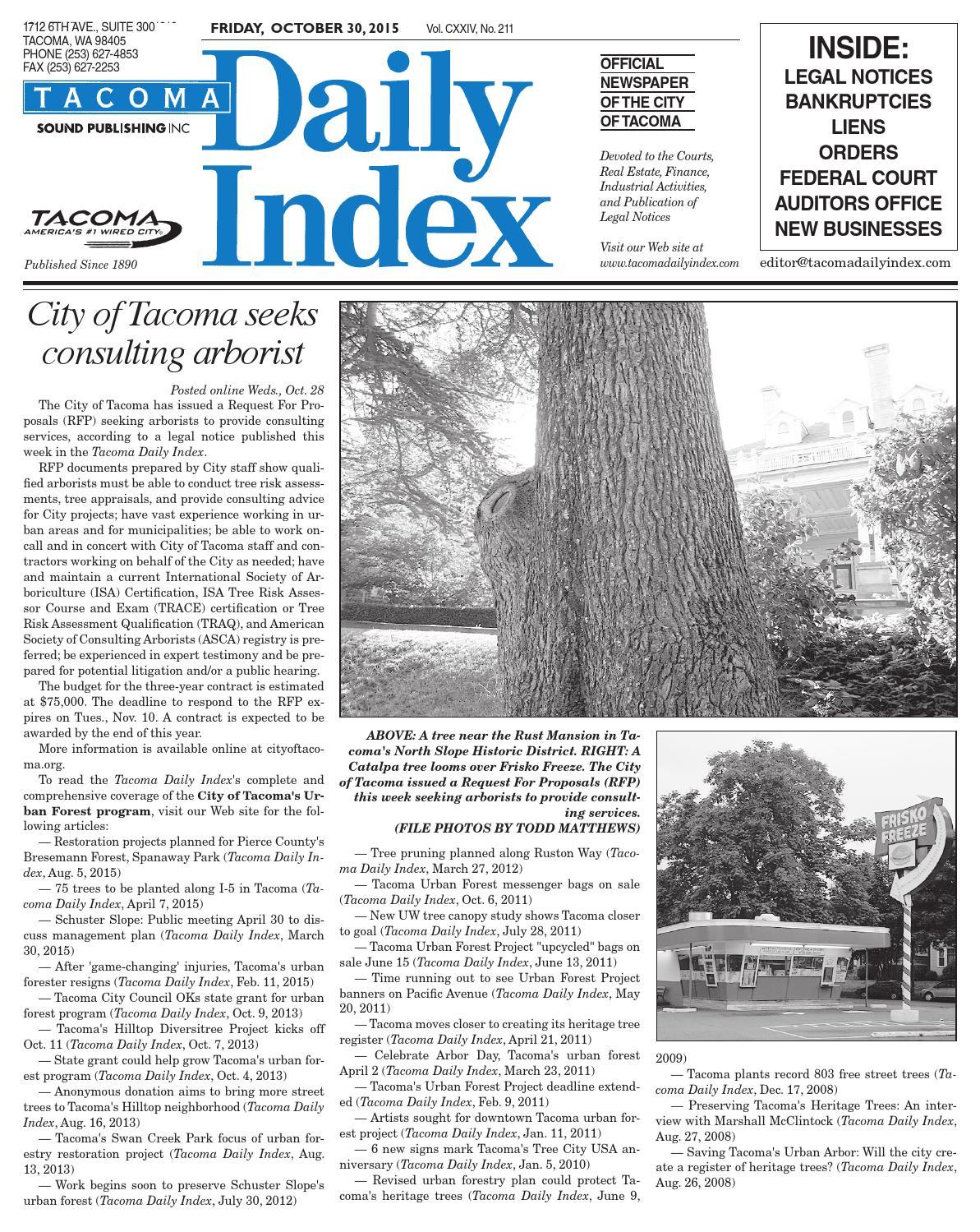 Tacoma Daily Index, October 30, 2015 by Sound Publishing - issuu