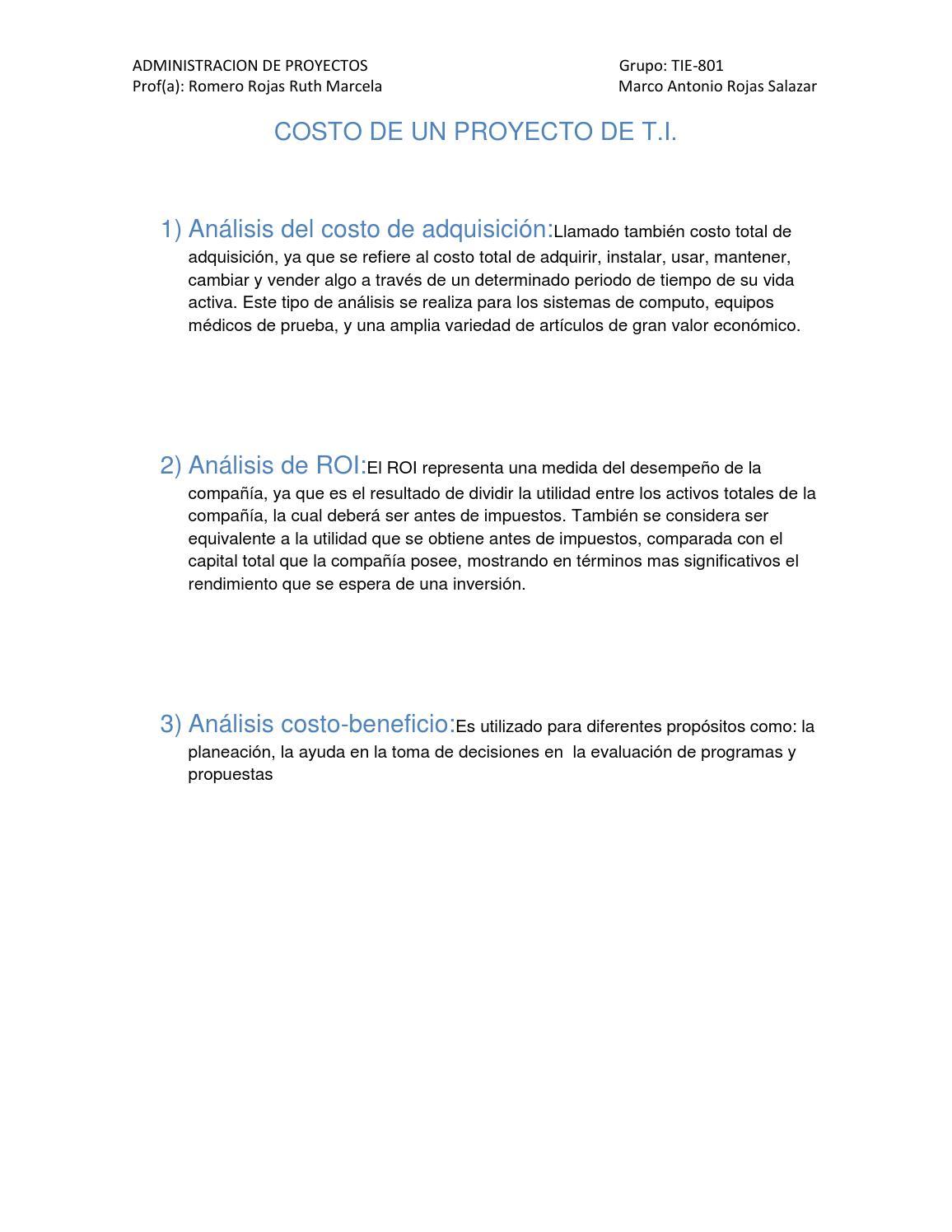 Costo de un proyecto de t by MARCO - issuu