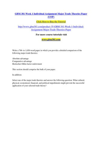Week 1 Individual Assignment Major Trade Theories Paper Writ