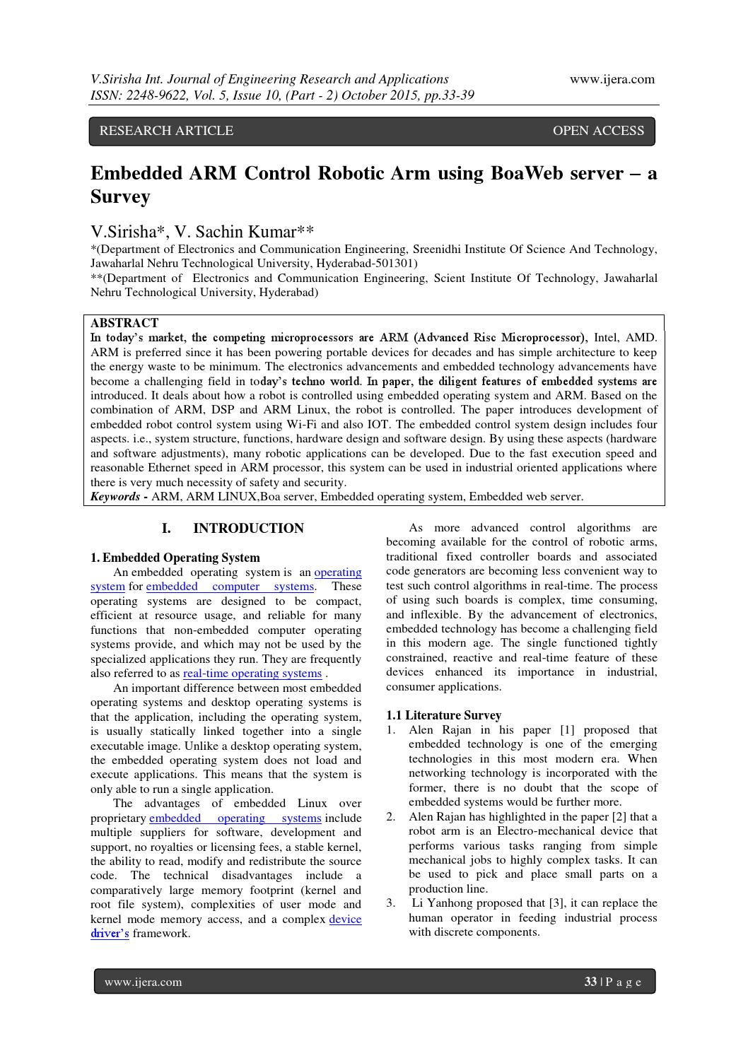 Embedded ARM Control Robotic Arm using BoaWeb server – a Survey by