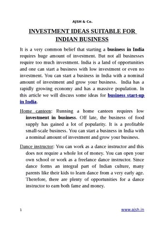 investment ideas suitable for indian business by ajshco issuu