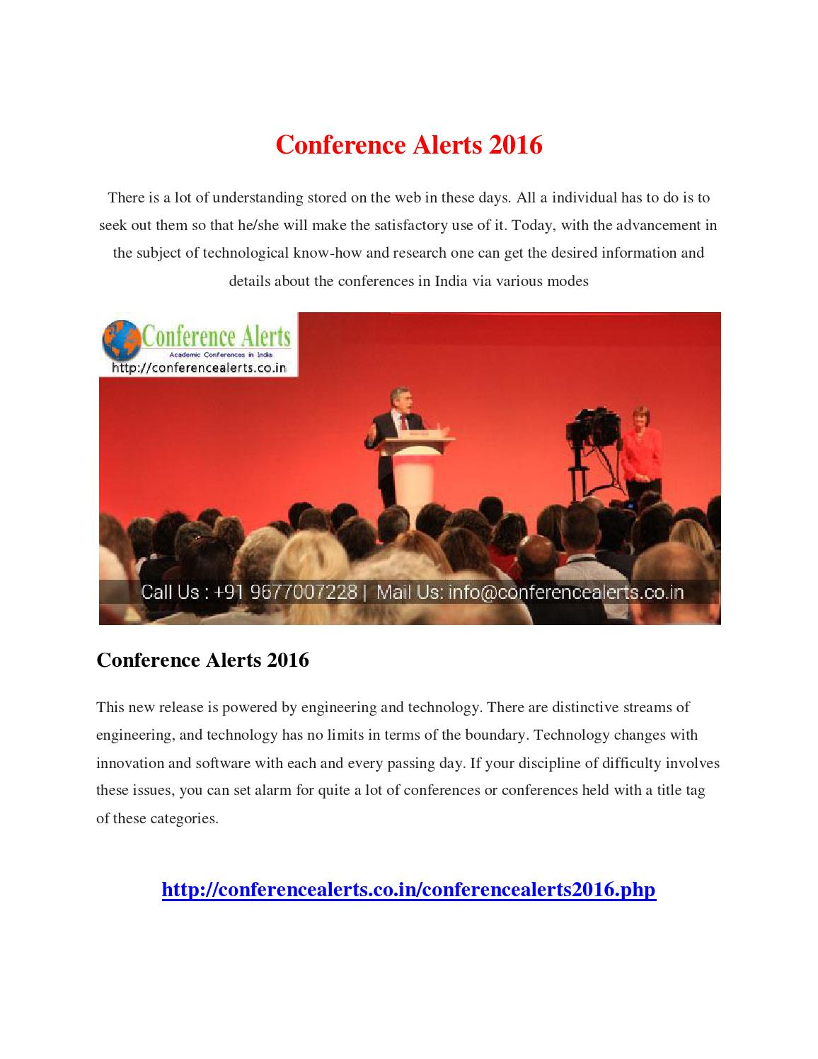 Conference alert 2016 by mani - issuu
