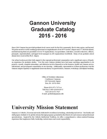 Gannon university graduate catalog 2015 2016 by gannon university gannon university graduate catalog 2015 2016 since 1964 gannon has provided graduate level course work for the erie community the tri state region fandeluxe Images