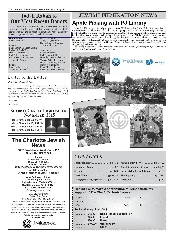 Visions Of Community 2015 Federation >> 11 Nov 2015 Web By The Charlotte Jewish News Issuu