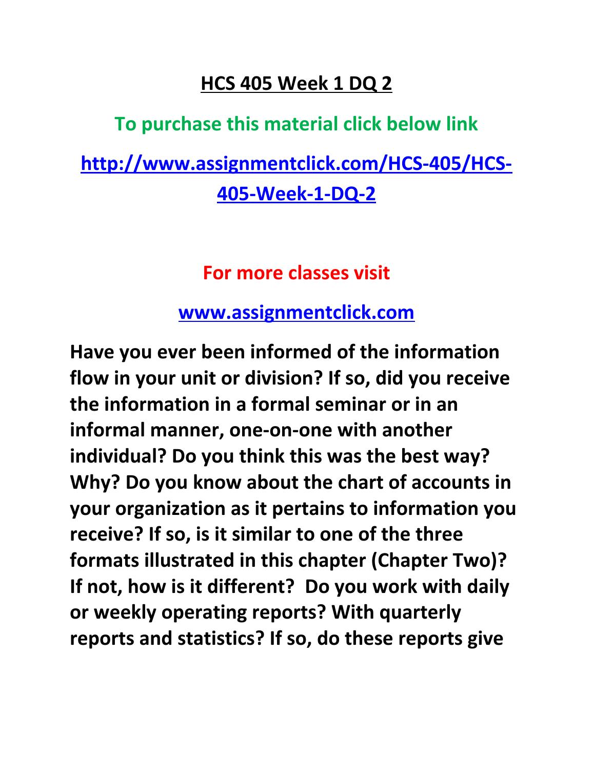 hcs 405 week one assignment Bshs 455 week 1 individual assignment conceptualizing addiction instructions: this is a two-part assignment part a will help you identify the.