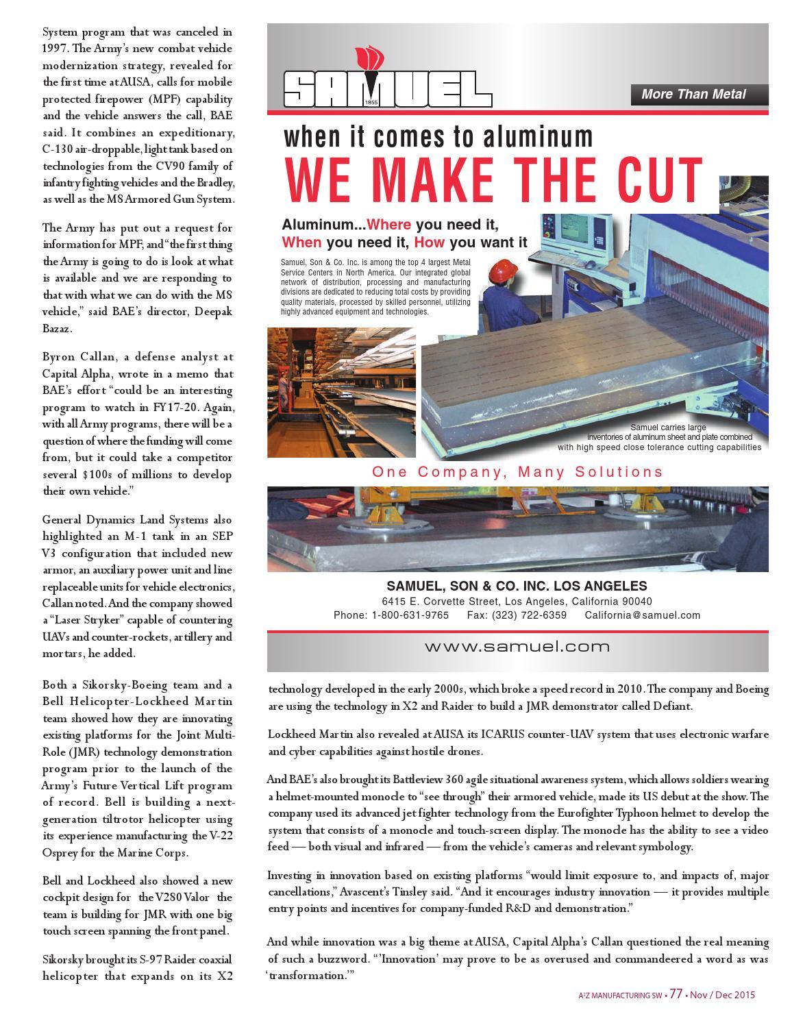A2Z Mfg Magazine SW Nov 2015 by A2Z Manufacturing Magazines - issuu