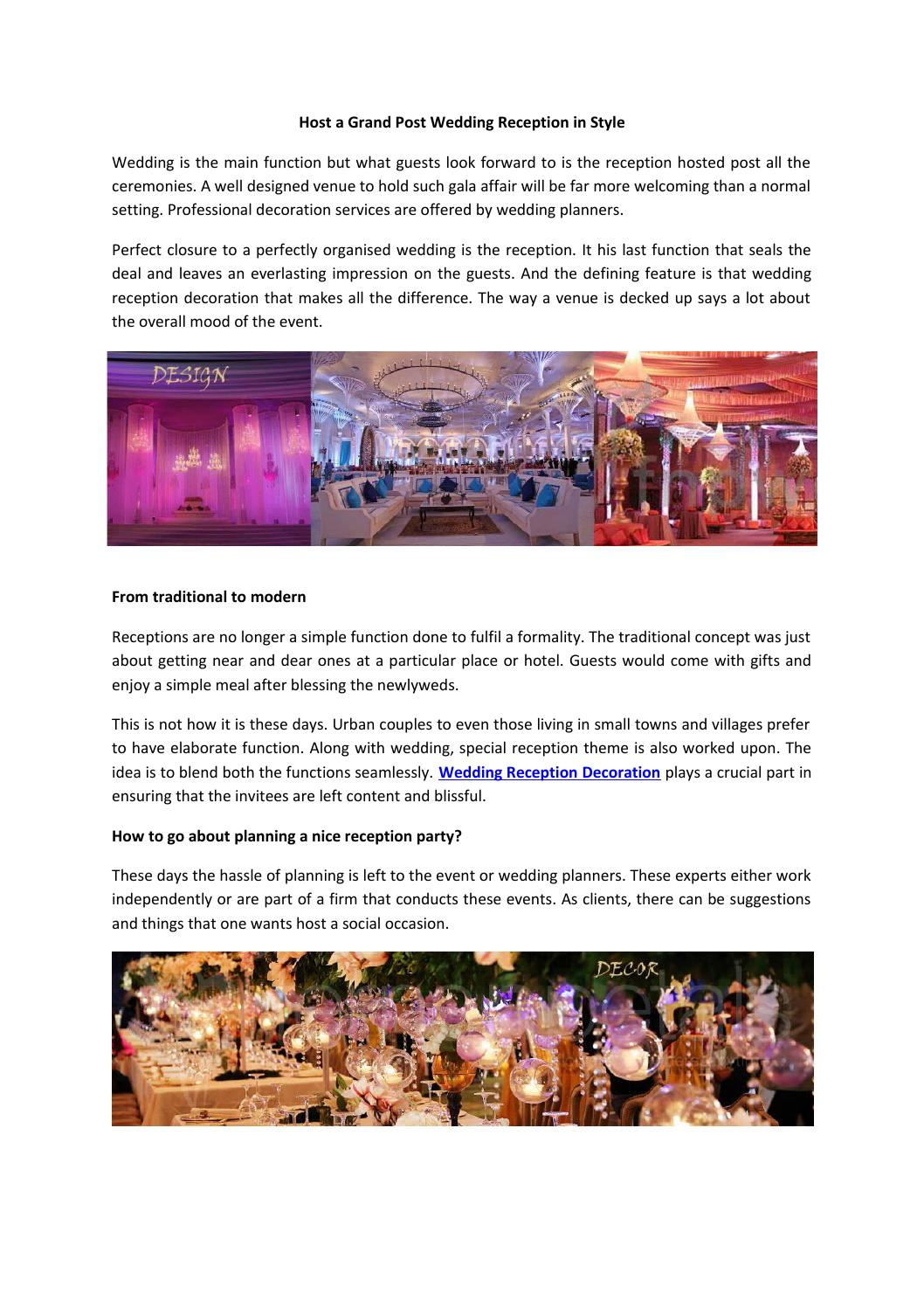 Host A Grand Post Wedding Reception In Style By Fnp Weddings Issuu