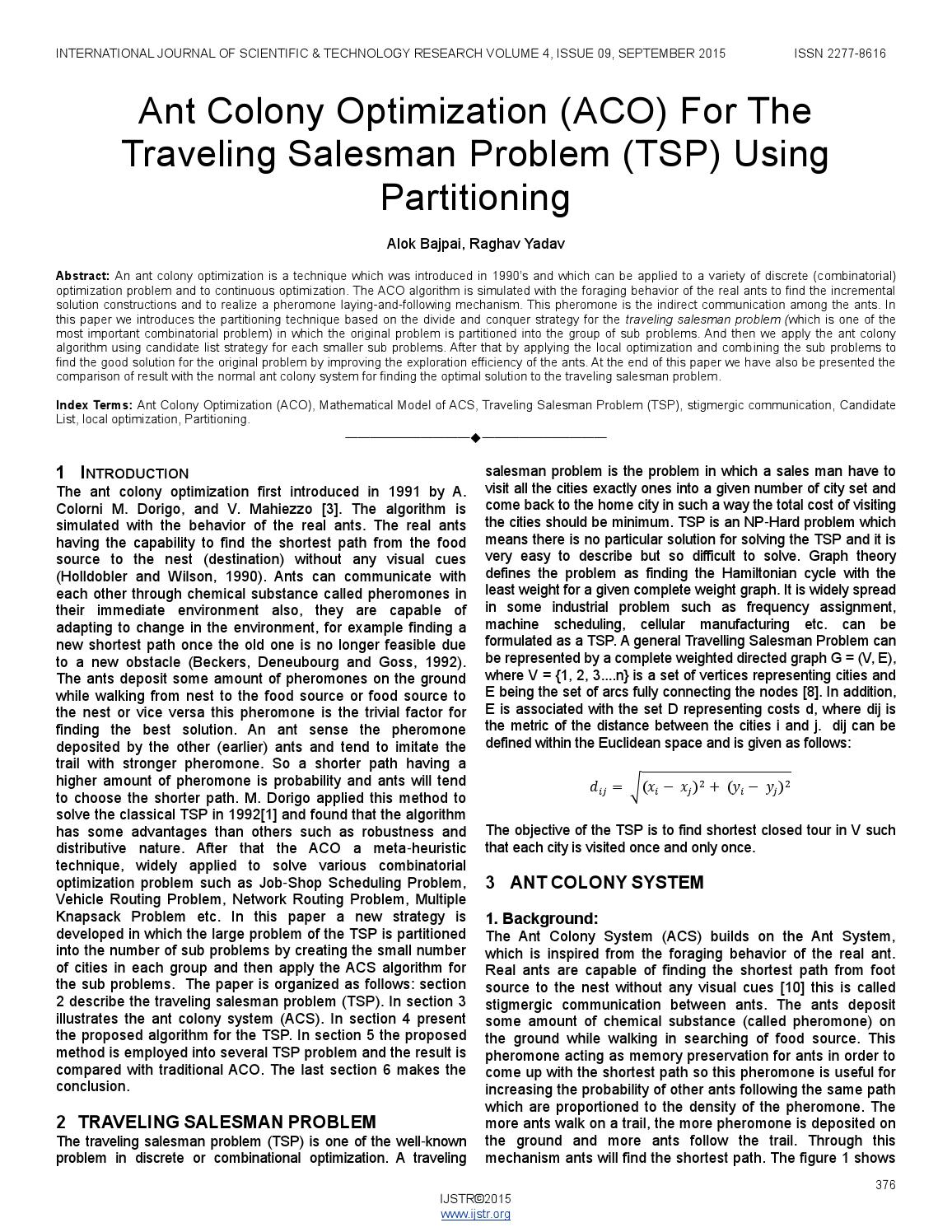 Ant Colony Optimization Aco For The Traveling Salesman Problem Tsp Using Partitioning By Ijstr