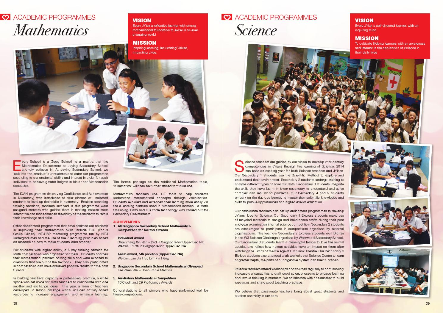 Juying Secondary School Yearbook 2014 by Juying Secondary