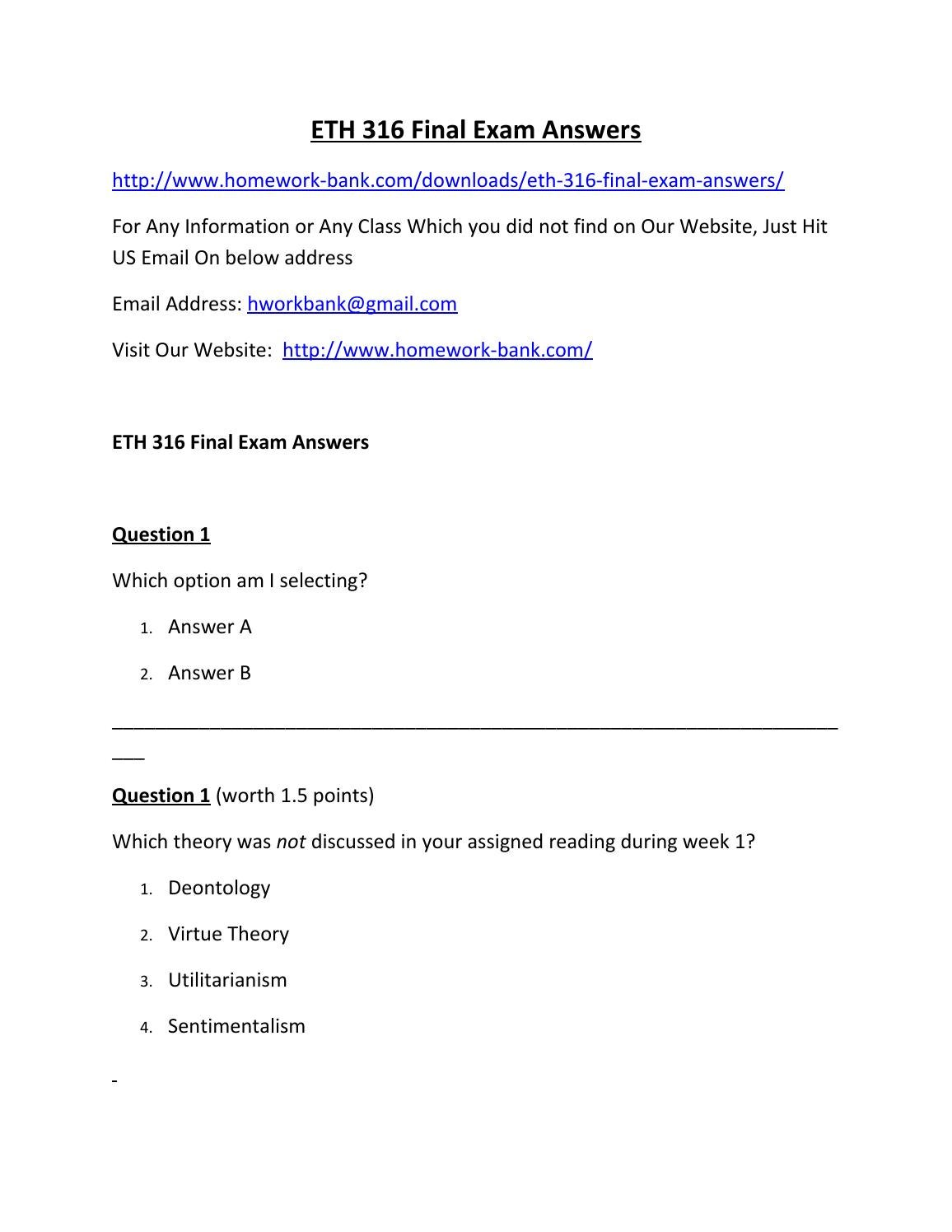 eth 316 week 5 final exam Eth/316 week 1  week 2  week 3  week 4  week 5  fin/366 week 1  mgt 330, final exam assessment questions answers study guide material.