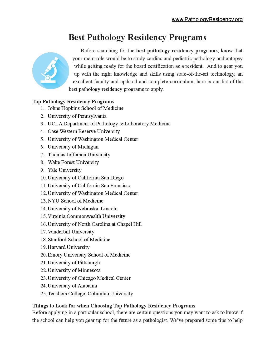 Best Pathology Residency Programs by pathologyresidency - issuu