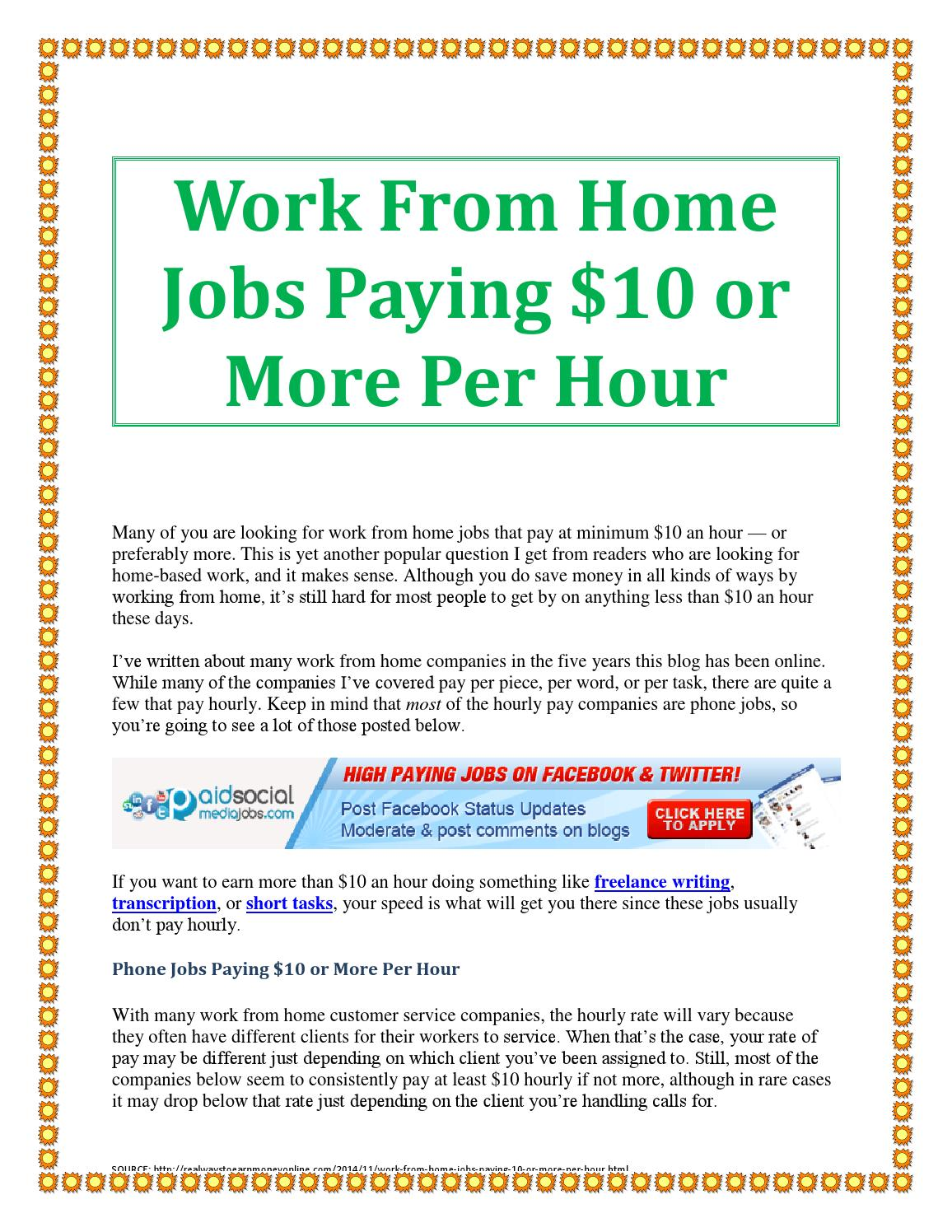 40+ Work from home jobs paying $10 or more per hour by
