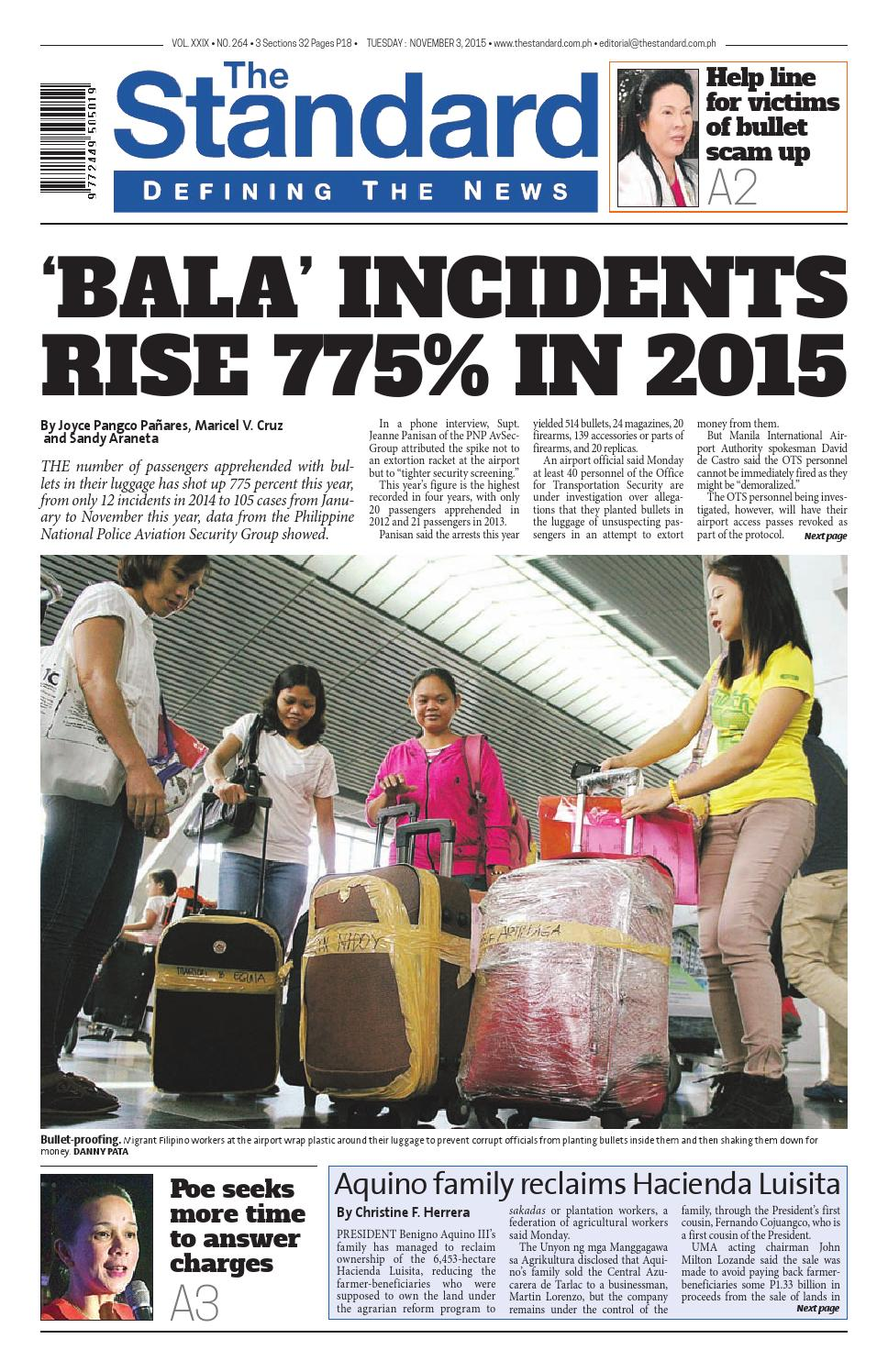 The Standard - 2015 November 03 - Tuesday by Manila Standard