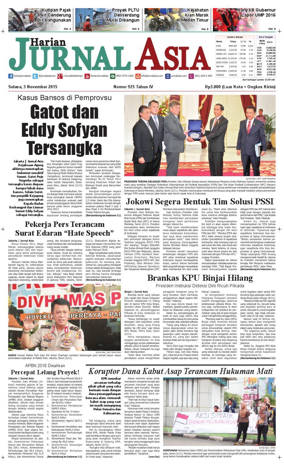 Harian Jurnal Asia Edisi Selasa 03 November 2015 By Produk Ukm Bumn Kain Batik Middle Premium 3 Bendera 01 Medan Issuu
