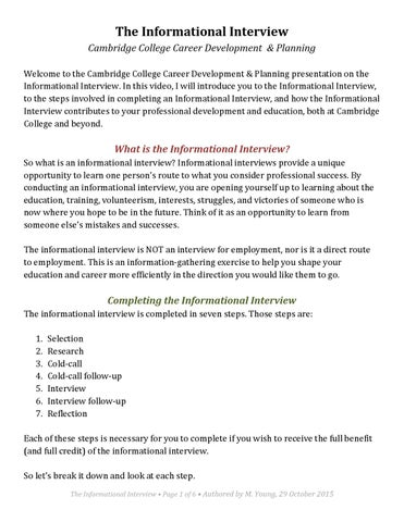 the informational interview cambridge college career development planning welcome to the cambridge college career development planning presentation on