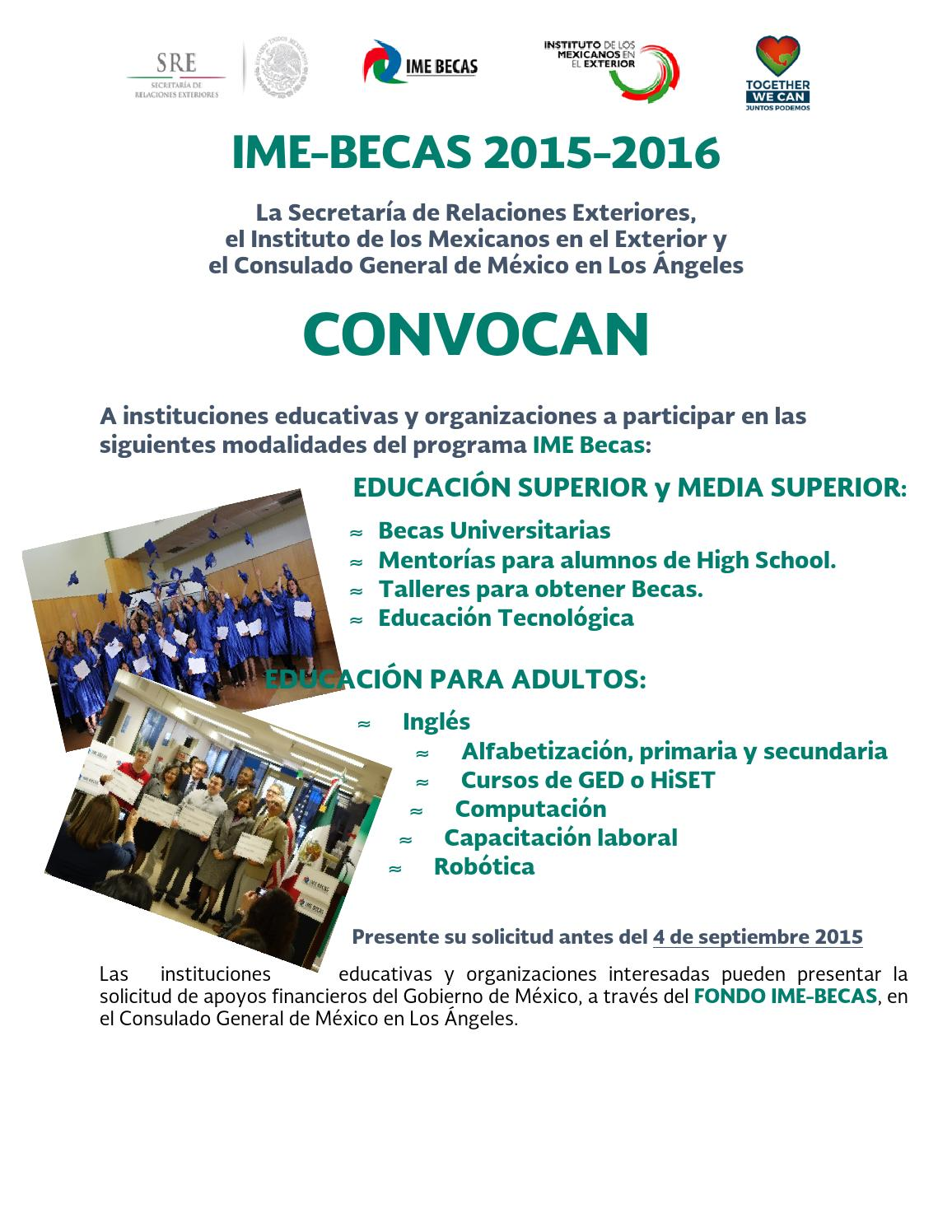 Ime becas 2015 2016 by consulmex los angeles issuu for Secretaria de relaciones exteriores becas