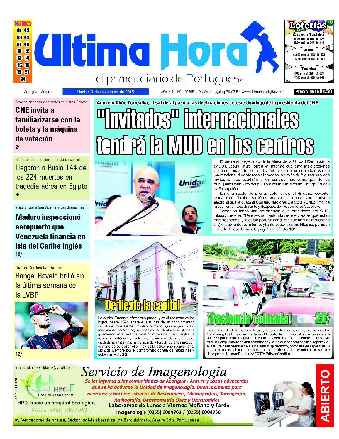 Edicion03 11 2015 By Ultima Hora El Primer Diario De Portuguesa  # Muebles Castro Tovar Toral Vados
