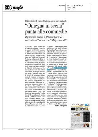 o eco 11 10 14 by jornal o eco issuuomegna in scena punta alle commedie eco risveglio verbania 14 10 2015