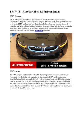 Bmw I8 Autoportal On Its Price In India By Satishkumar Issuu