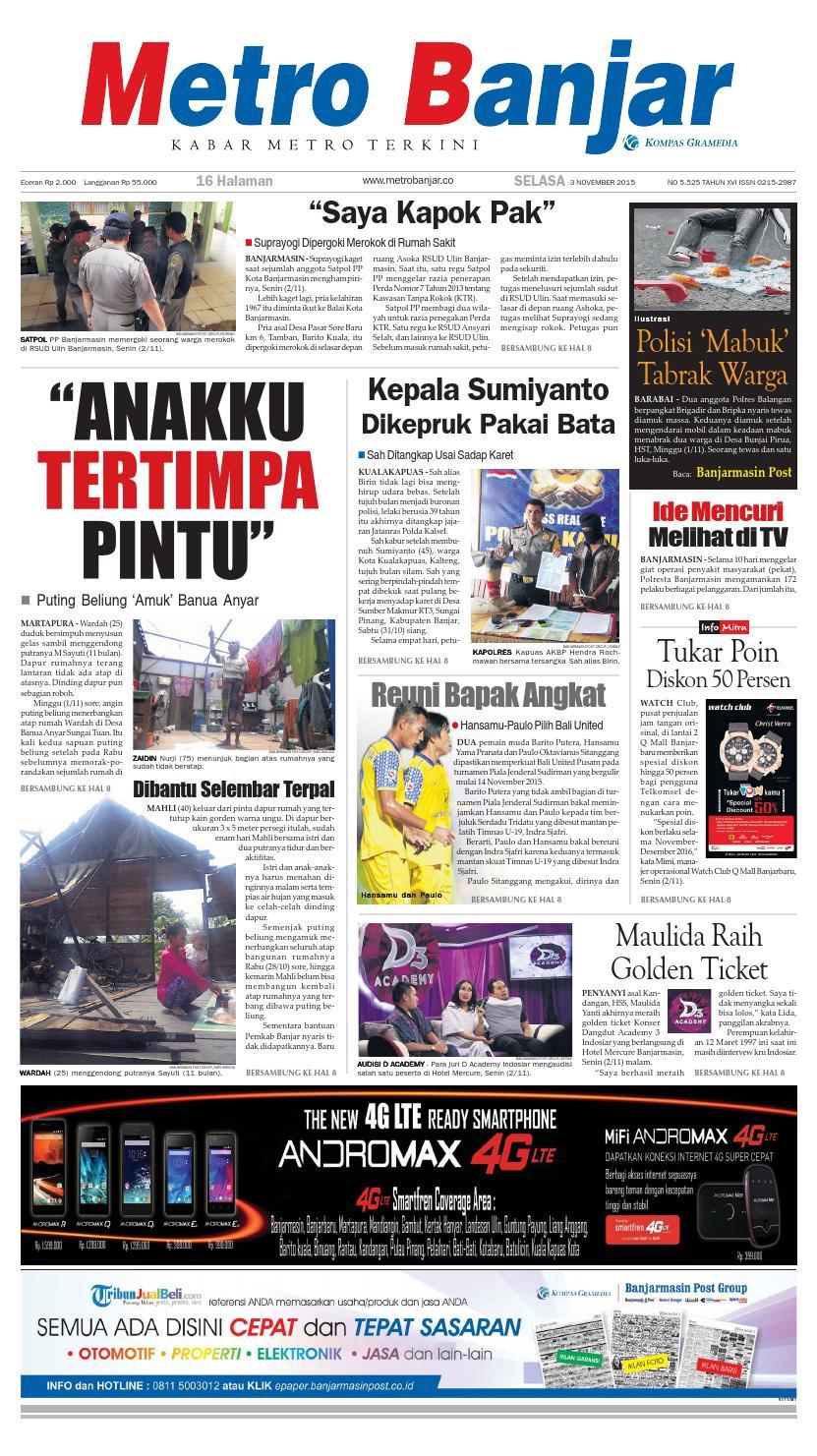 Metro Banjar Selasa 3 November 2015 By Harian Issuu Buku Misteri Mayat Yang Berpindah Smara Gd