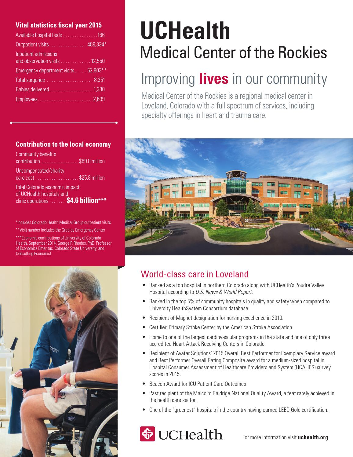 UCHealth Community Benefits Report Fact Sheet Medical Center of the