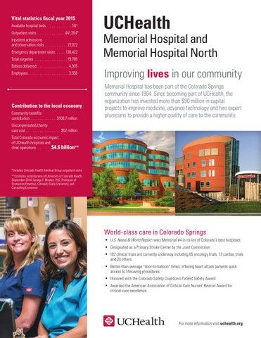 UCHealth Community Benefits Report Fact Sheet Memorial