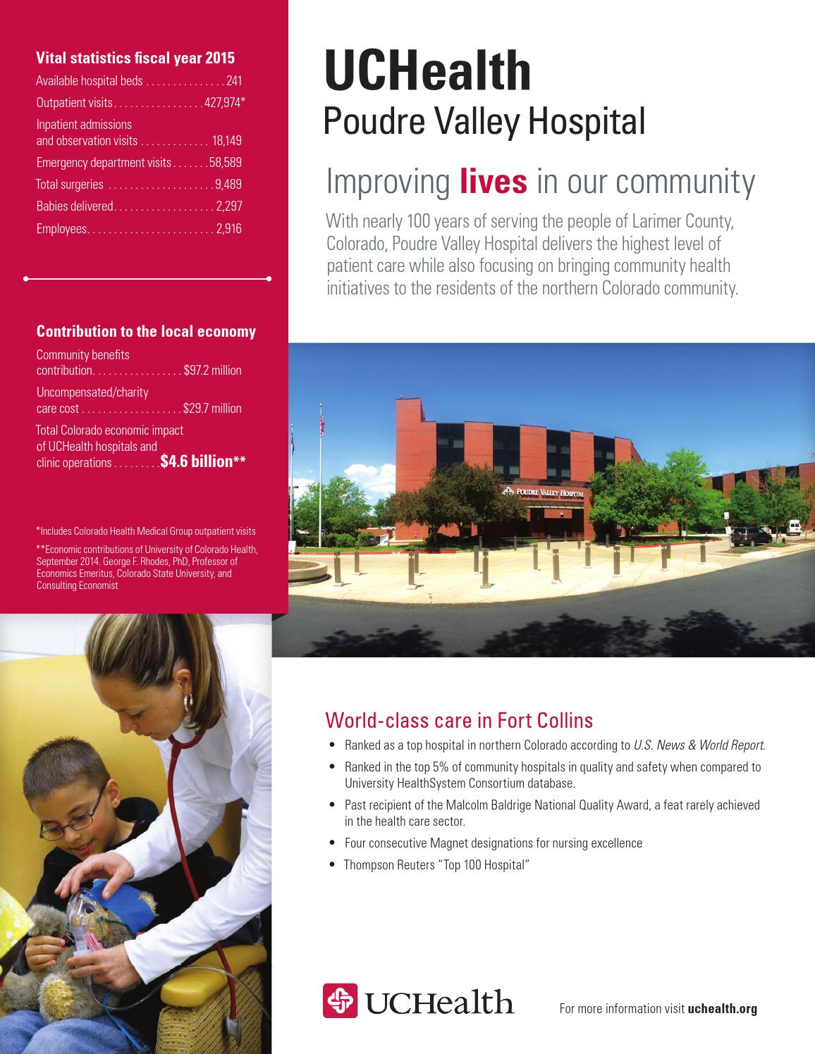 UCHealth Community Benefits Report Fact Sheet Poudre Valley Hospital