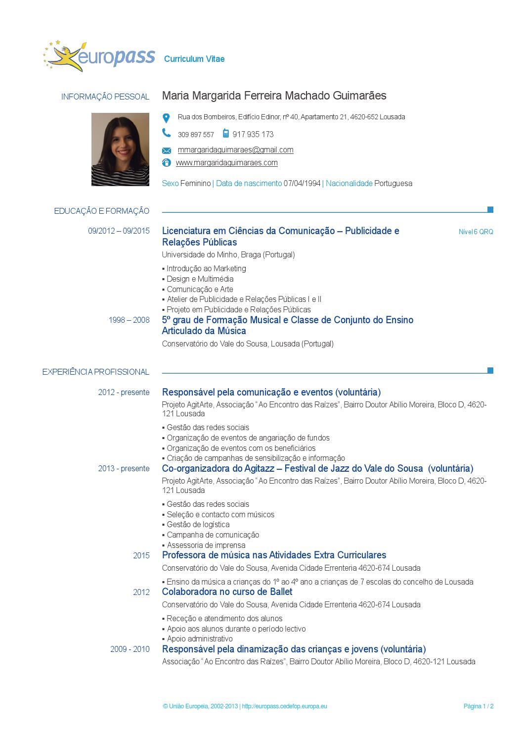 Curriculum Vitae Margarida Guimaraes By Margarida Guimaraes Issuu