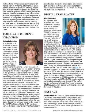 E The Magazine for Today's Female Executive October 2015