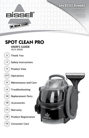 Bissell Spotclean 3624 Manual By Aragonez Issuu
