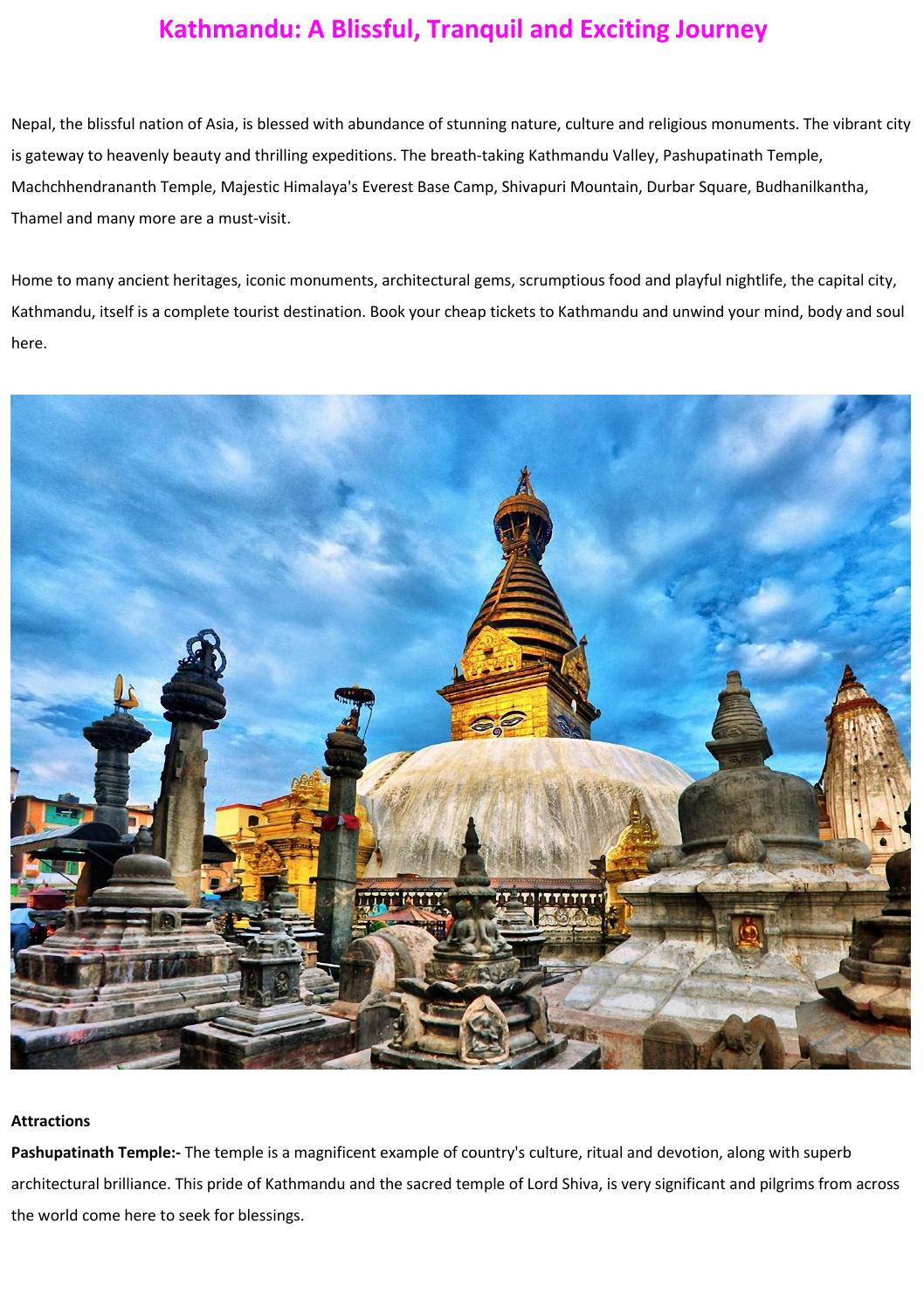 Kathmandu: A Blissful, Tranquil and Exciting Journey by