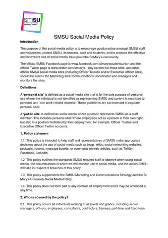 smsu social media policy introduction the purpose of this social media policy is to encourage good practice amongst smsu staff and volunteers protect smsu