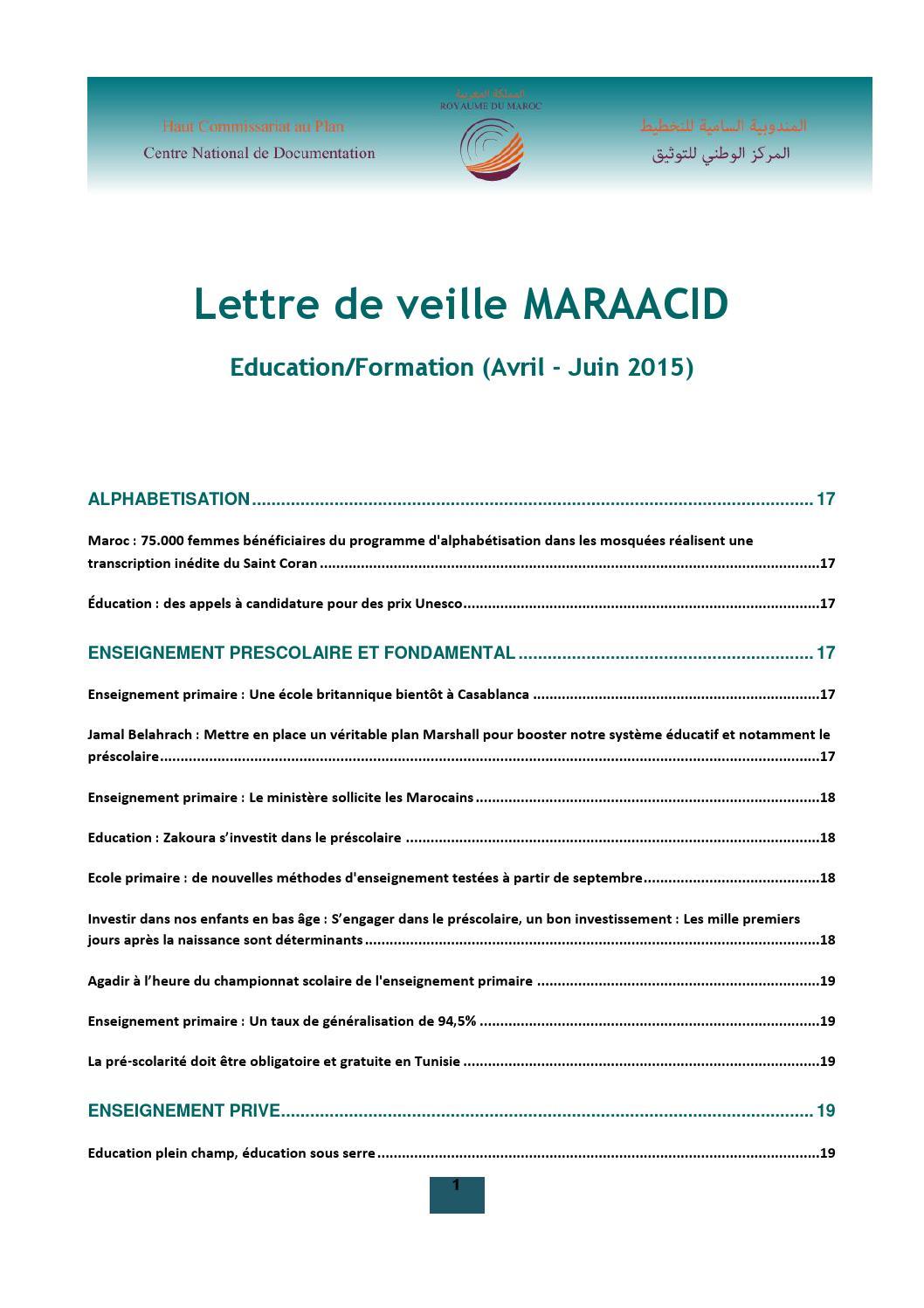 Lettre De Veille Cnd Education Formation Avril Juin 2015 By Cnd