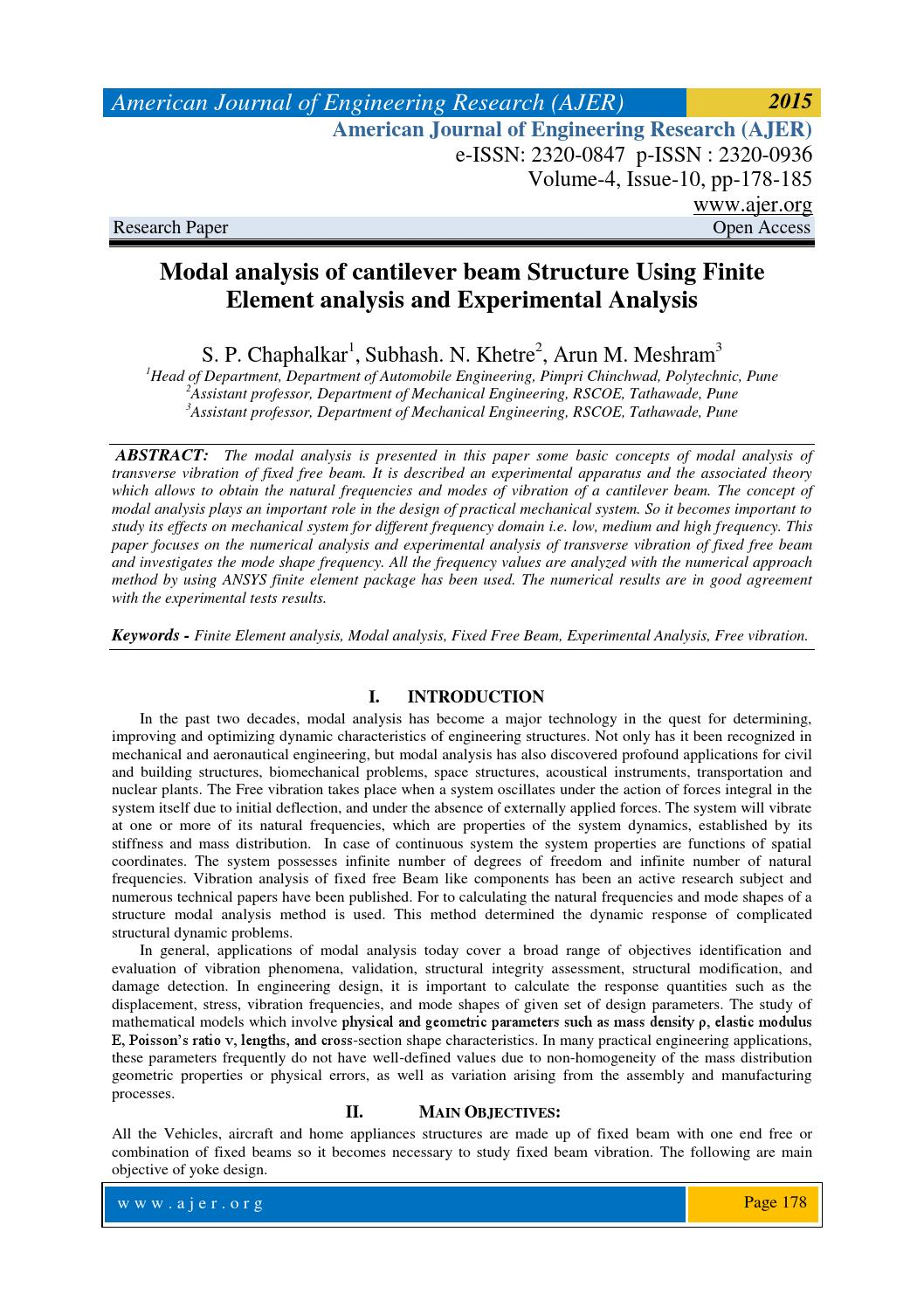 Modal analysis of cantilever beam Structure by AJER - issuu