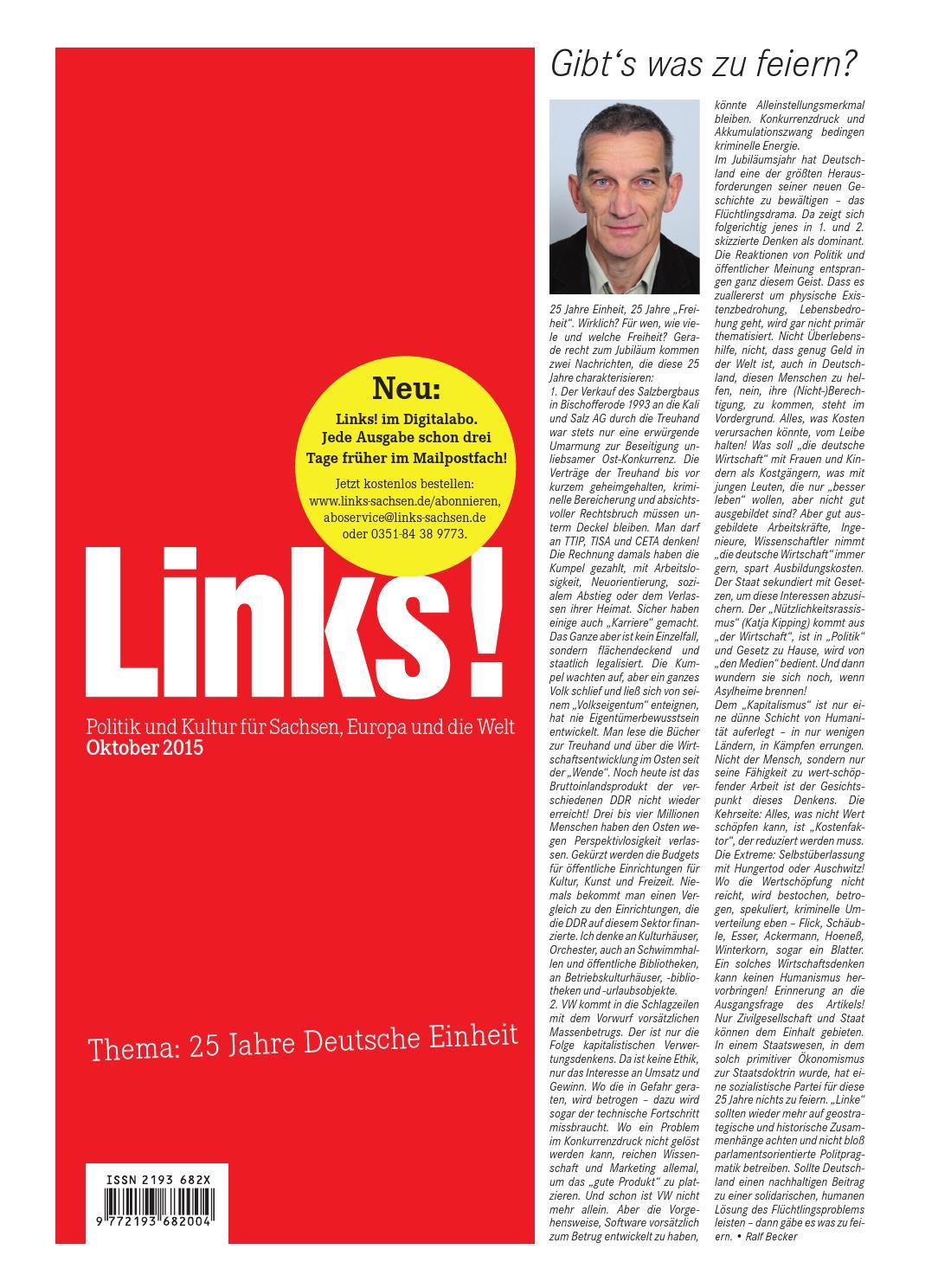 LINKS! Ausgabe 10/2015 by LINKS! Politik und Kultur für Sachsen ...